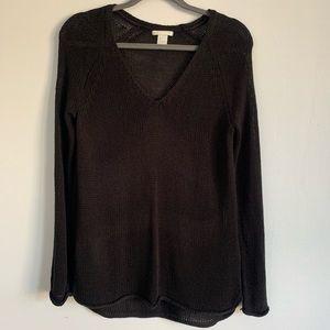 Black V-Neck Knit Sweater